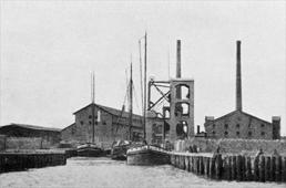 Hafeneinfahrt zu Ziegelei des Pommerschen Industrieverein a. A. in Berndshof bei Ueckermünde